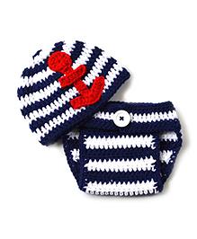 The Original Knit Sailor Crochet Photo Prop - Navy Blue & White