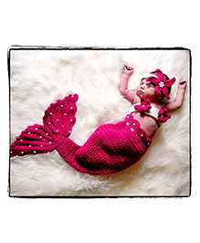 The Original Knit Mermaid Crochet Photo Prop - Hot Pink