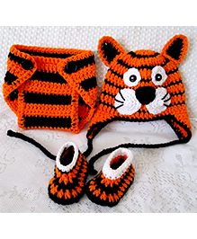 The Original Knit Tiger Crochet Photo Prop - Orange & Black