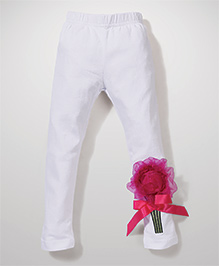 Wenchoice Leggings With Flower Applique - White