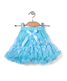 Wenchoice Net Skirt With Floral Print - Turquoise