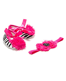 Pikaboo Booties And Headband Set - Pink Black White