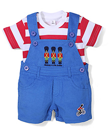 ToffyHouse Soldier Print Dungaree Style Romper With Inner Tee - Blue & Red