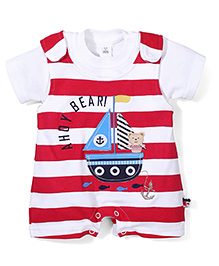 ToffyHouse Flying Ahoy Bear Dungaree Style Romper With Inner Tee - White & Red