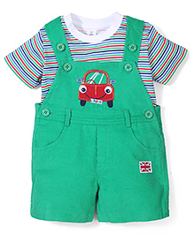 ToffyHouse Car Print Dungaree Style Romper With Inner Tee - Multicolor