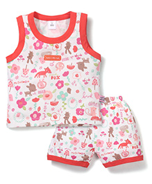 ToffyHouse Fox Print Top & Shorts Set - Red & White