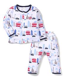 ToffyHouse Bus Print Top & Pant Set - Blue & White