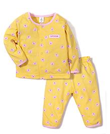 ToffyHouse Bird Print Top & Pant Set - Yellow