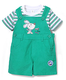 ToffyHouse Mouse Print Dungaree Style Romper With Inner Tee - Green