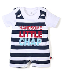 ToffyHoue Little Champ Print Dungaree Style Romper With Inner Tee - White & Blue