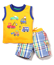 ToffyHouse Vehicle Print T-Shirt & Shorts Set - Multicolor