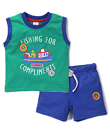 ToffyHouse Fishing For Compliments T-Shirt & Shorts Set - Green & Blue