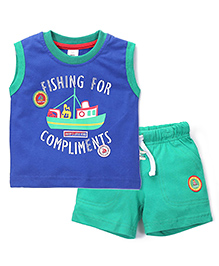 ToffyHouse Fishing For Compliments T-Shirt & Shorts Set - Blue & Green