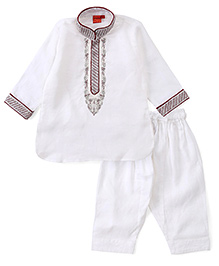 Ethnik's Neu Ron Full Sleeves Kurta And Pajama With Embrodery - White