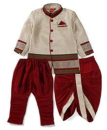 Ethniks Neu Ron Full Sleeves Kurta And Dhoti With Jodhpuri Breeches - Maroon