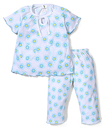 Cucumber Half Sleeves Night Suit Floral Print - Sky Blue And White