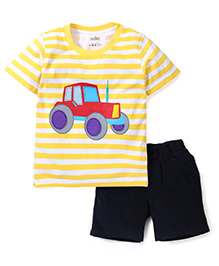 Babyhug Striped T-Shirt With Car Print And Corduroy Shorts - Yellow & Navy