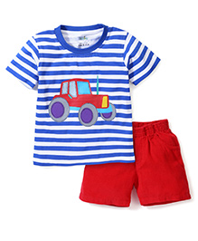 Babyhug Striped T-Shirt With Car Print And Corduroy Shorts - Royal Blue & Red