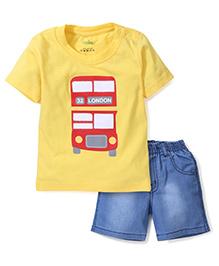 Babyhug Half Sleeves T-Shirt With London Print And Denim Shorts - Yellow & Blue