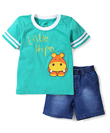 Babyhug Half Sleeves T-Shirt With Little Hippo Print And Denim Shorts - Green & Denim Blue
