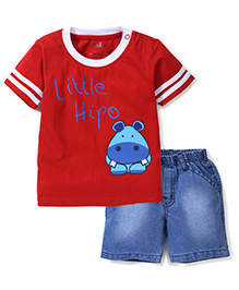 Babyhug Half Sleeves T-Shirt With Little Hippo Print And Denim Shorts - Red & Denim Blue