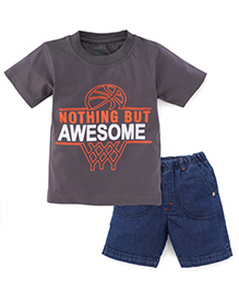 Babyhug Half Sleeves T-Shirt And Shorts Awesome Print - Dark Grey And Denim Blue