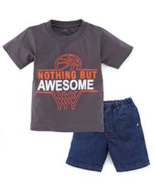 Babyhug Half Sleeves T-Shirt And Shorts Awesome Print - Dark Grey And Denim Blue