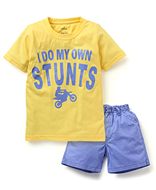 Babyhug Half Sleeves T-Shirt And Shorts - Yellow Blue