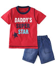 Babyhug Half Sleeves Tee & Shorts - Red & Blue