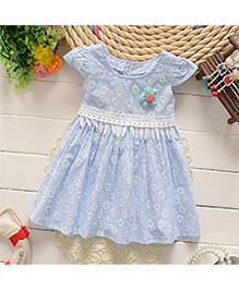 Adores Flower Print Baby Dress - Blue