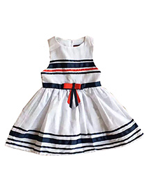 Tickles 4 U Sleeveless Dress With Bow -  White