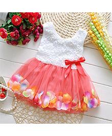 Tickles 4 U Rose Petal Tutu Dress - White & Orange