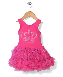 Wenchoice Layered Dress With Crown Print - Pink