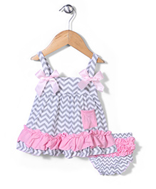 Wenchoice  Frill Dress With Bloomer - Grey White & Pink