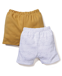 Ben Benny Striped & Solid Color Pack Of 2 Shorts - White & Yellow