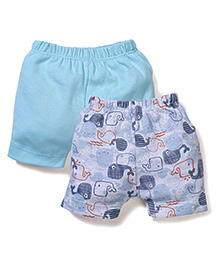 Ben Benny Elephant Print & Solid Color Pack Of 2 Shorts - Blue & Grey