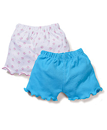 Ben Benny Floral Print & Solid Shorts Pink White And Blue - Pack Of 2