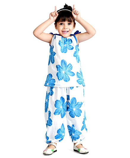 Little Pockets Store Floral Print Top & Bottom Set - Blue