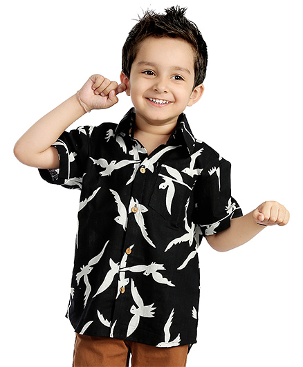 Little Pockets Store Bird Print Half Sleeve Shirt  - Black