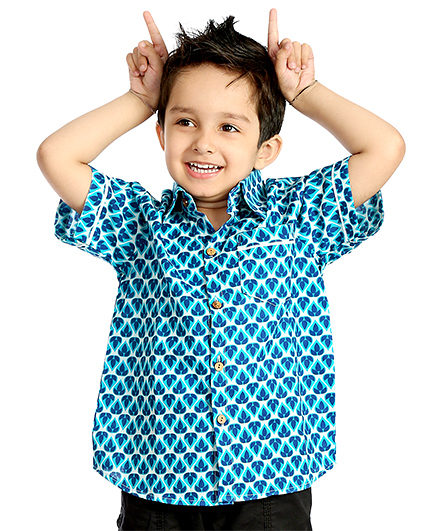Little Pockets Store Half Sleeves Cool Shirt  - Blue