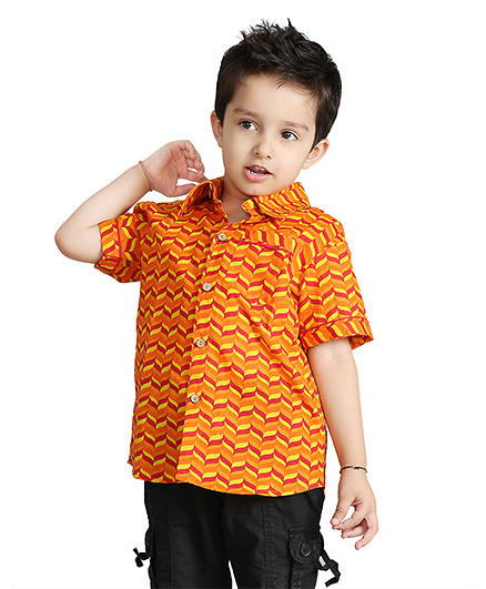 Little Pockets Store Half Sleeve Summer Shirt  - Yellow