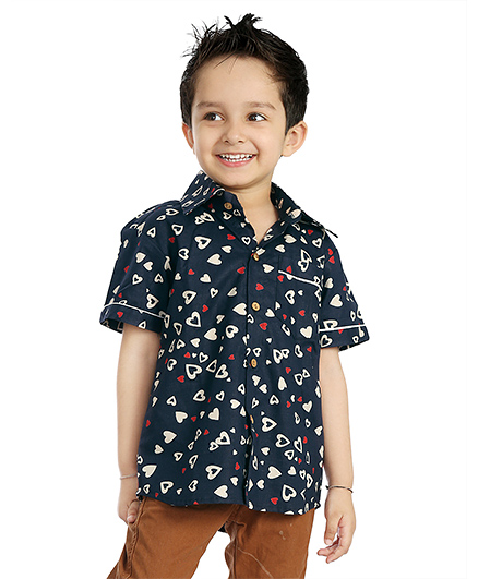 Little Pockets Store Half Sleeve Summer Shirt  - Navy Blue