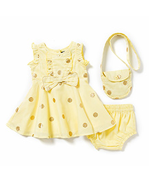 Chicabelle Polka Dot Dress With Matching Bloomer -  Yellow & Golden