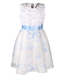 Chicabelle Printed Dress With Cut Flowers - White & Blue
