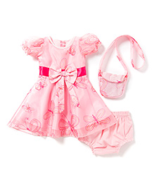 Chicabelle Baby Girls Dress With Matching Bag Set - Pink