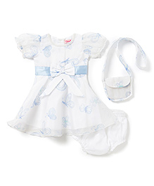Chicabelle Baby Girls Dress With Matching Bag Set - Blue & White