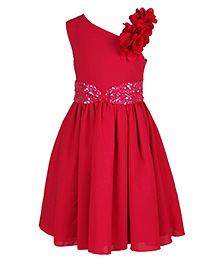 Chicabelle Girls Sleeveless Sequence Party Dress - Fuschia Pink