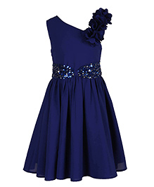 Chicabelle Sleeveless Buttoned Party Dress - Blue