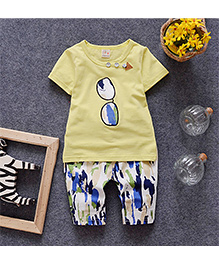Pre Order: Petite Kids Glass Print T-Shirt & Capri Set - Yellow