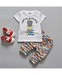 Pre Order: Petite Kids Wingman Printed Tee & Capri Set - White